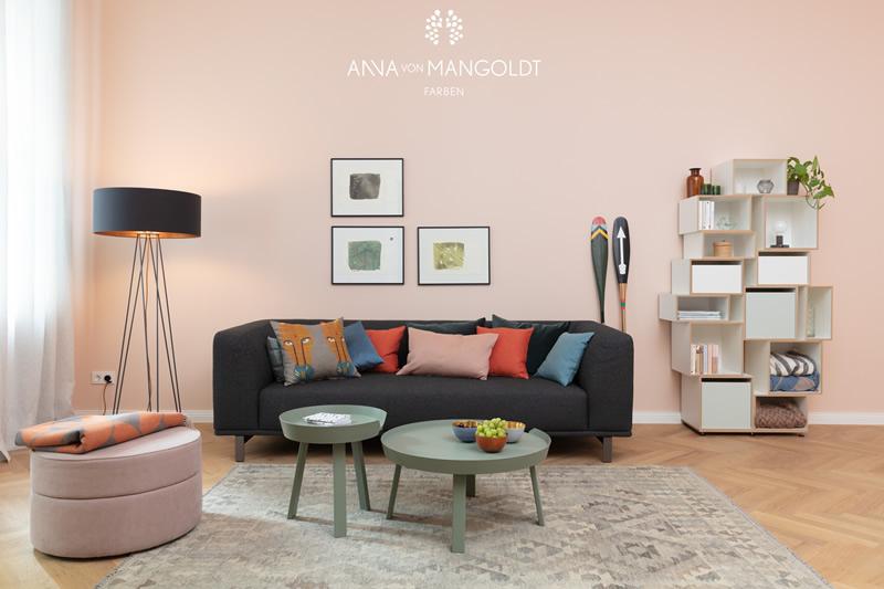 Kreidefarbe rosa-apricot-173 Wohnzimmer Anna von Mangoldt